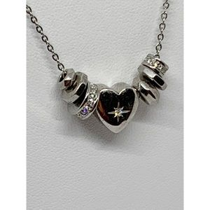 Fossil Silver Necklace w/Rhinestone Heart & Discs